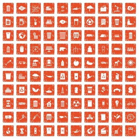 100 ecology icons set grunge orange