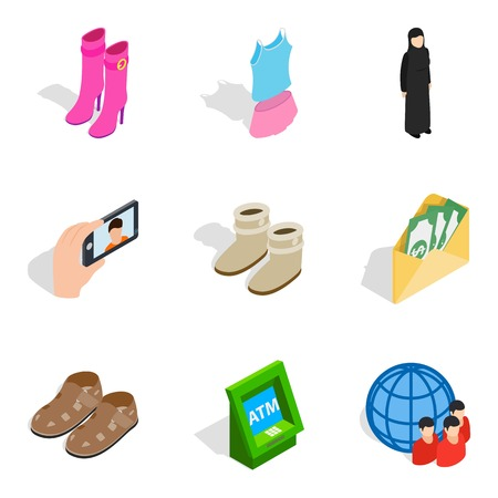 Madam icons set, isometric style 矢量图像