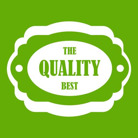The quality best label icon green background