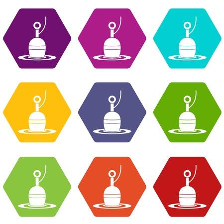 Floating bobber icon set color hexahedron Illustration