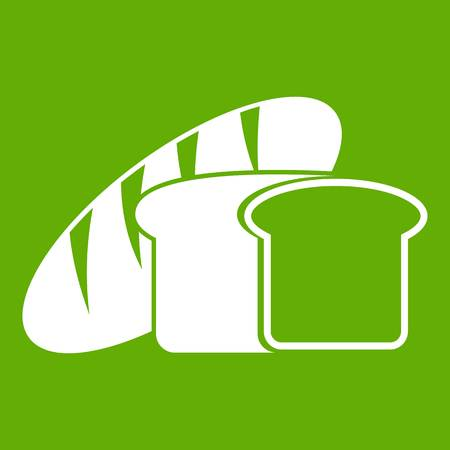 Bread icon white isolated on green background. Vector illustration Illustration