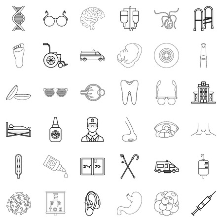 Health care provider icons set, outline style Illustration