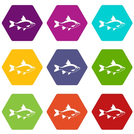 River fish icon set many color hexahedron isolated on white vector illustration