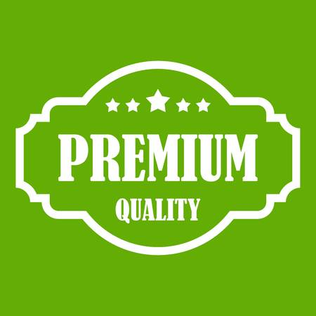 Premium quality label icon green background