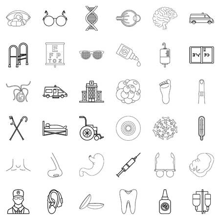 Service health icons set, outline style