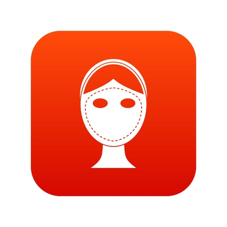 Face marked out for cosmetic surgery icon digital red background
