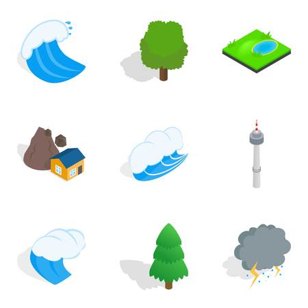 Strong point icons set. Isometric set of strong point vector icons for web isolated on white background Banco de Imagens - 94535140