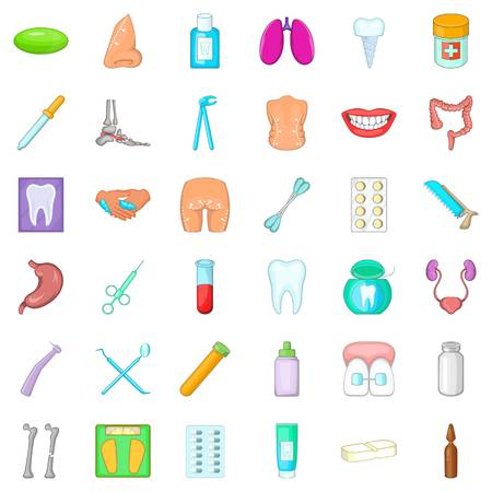 Health issues icons set. Cartoon set of 36 health issues vector icons for web isolated on white background