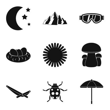 Reference point icons set, simple style Ilustração