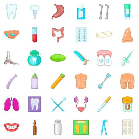 Matter of health icons set. Cartoon set of 36 matter of health vector icons for web isolated on white background Illustration