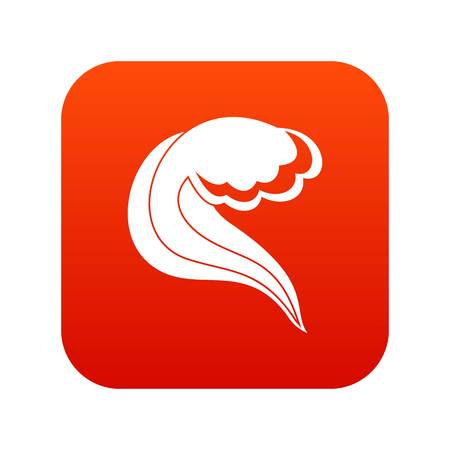 Ocean or sea wave icon digital red