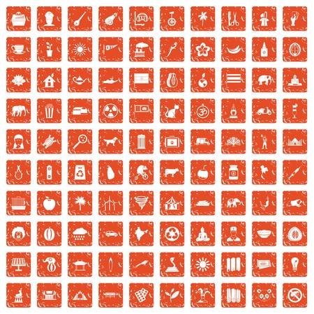 100 elephant icons set grunge orange