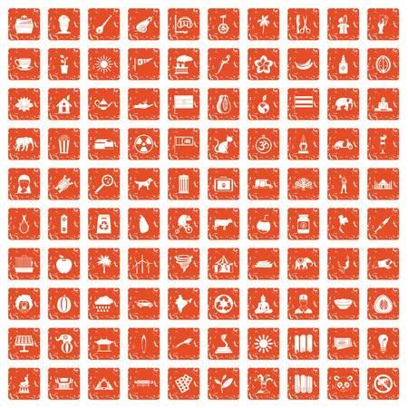 100 elephant icons set grunge orange
