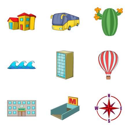 Landscape element icons set, cartoon style