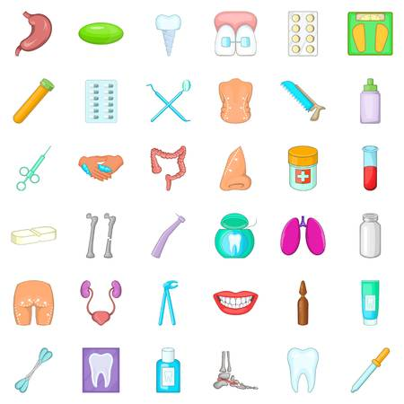 Hygiene icons set, cartoon style Illustration