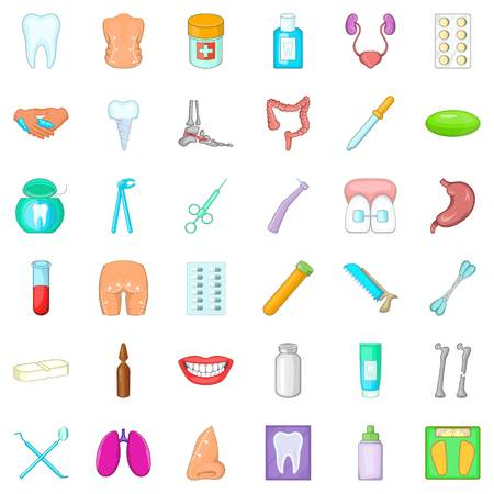 Hygiene item icons set, cartoon style