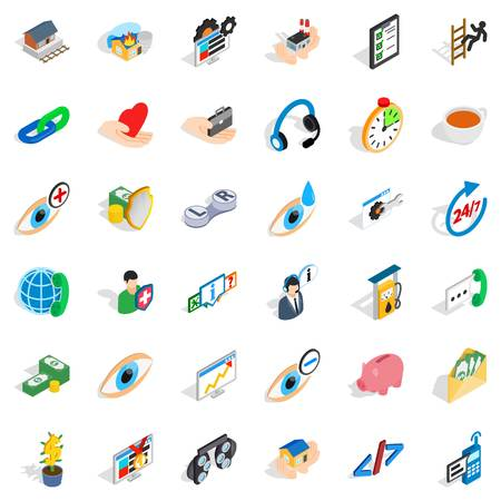 Rendering medical icons set, isometric style. Illustration