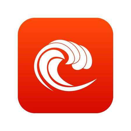 Wave of sea tide icon digital red.