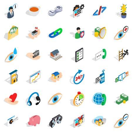 Medical intervention icons set, isometric style. Illustration