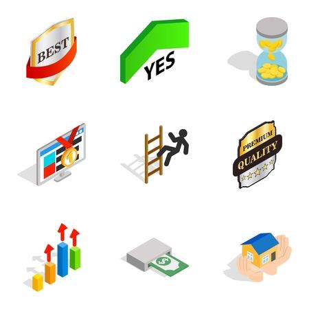 Managerial position icons set. Isometric set of 9 managerial position vector icons for web isolated on white background Illustration