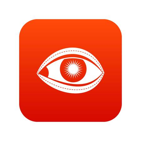 Plastic surgery of eye icon digital red.