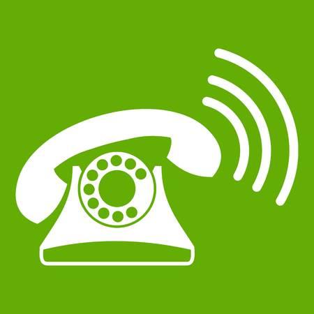 Retro phone icon green. Illustration