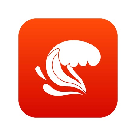Surf wave icon digital red for any design isolated on white vector illustration Illustration