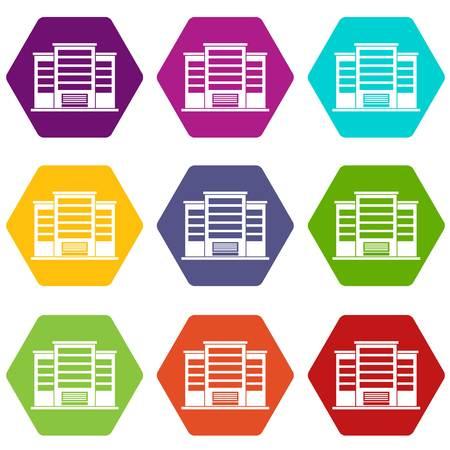Industrial building icon set color hexahedron.