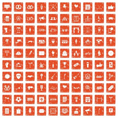 100 events icons set grunge orange