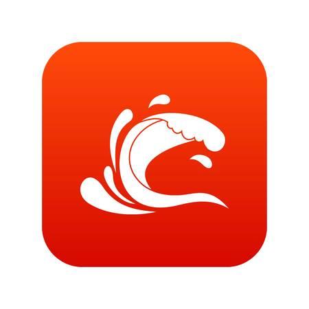 Water wave splash icon digital red