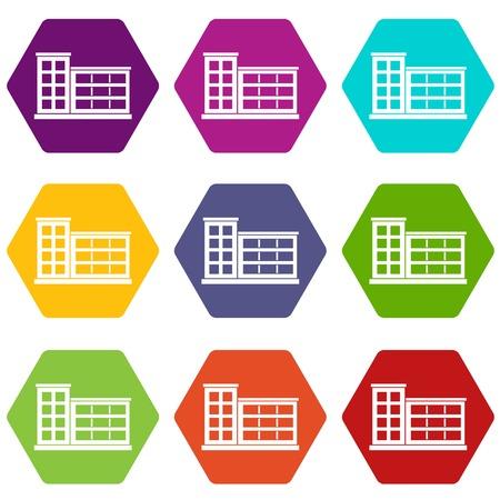 Industrial factory building icon set color hexahedron Illustration