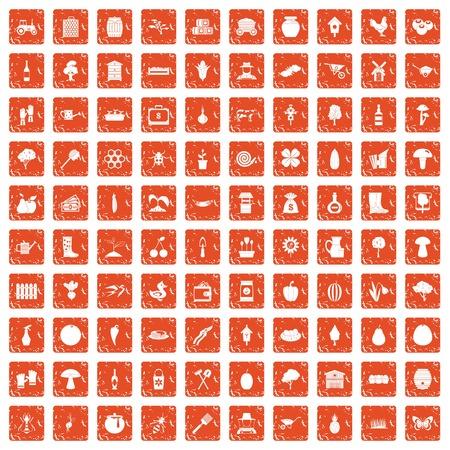 100 farming icons set grunge orange