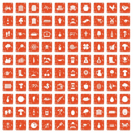 100 farming icons set grunge orange