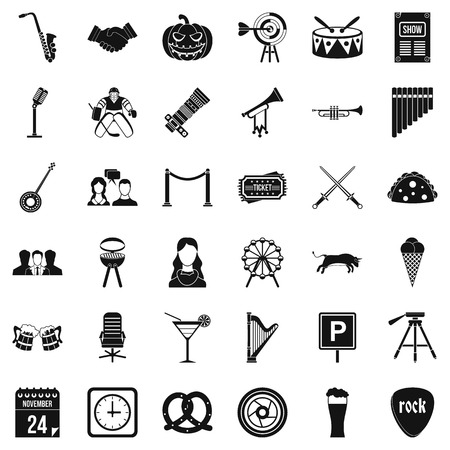 Session icons set, simple style