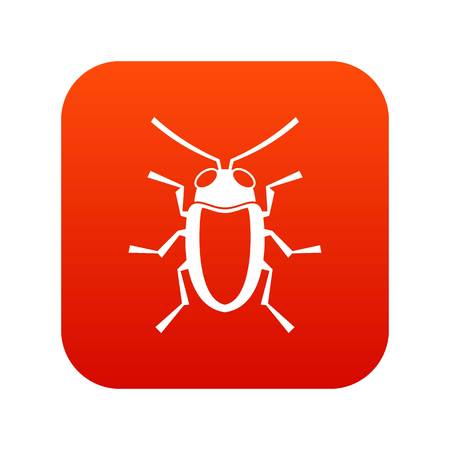 Longhorn beetle grammoptera icon digital red