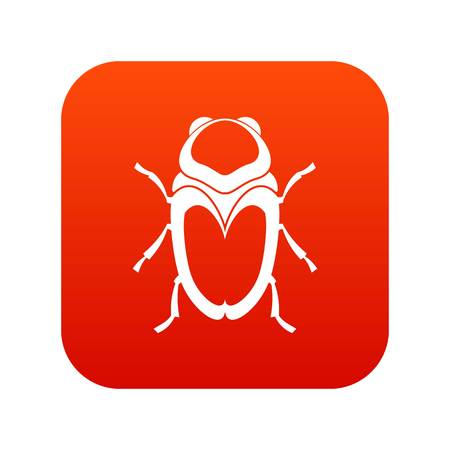 Scarab insect icon digital red for any design isolated on white vector illustration