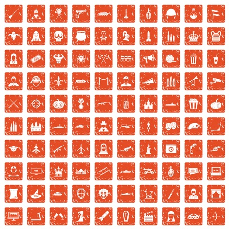 100 film icons set in grunge style orange color isolated on white background vector illustration