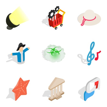 Brighten up icons set. Isometric set of 9 brighten up vector icons for web isolated on white background