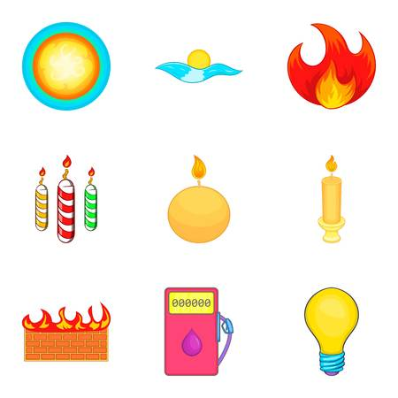 Searchlight icons set. Cartoon set of 9 searchlight vector icons for web isolated on white background Illustration