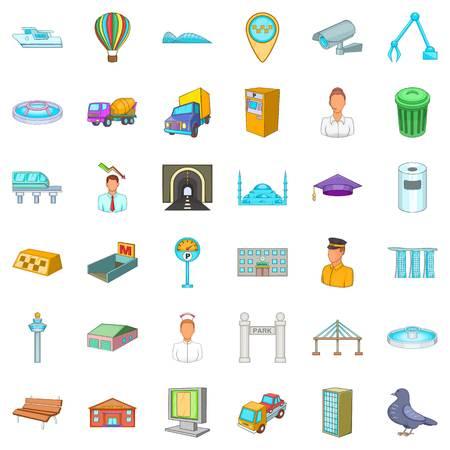 Citywide icons set. Cartoon set of 36 citywide vector icons for web isolated on white background Vektoros illusztráció