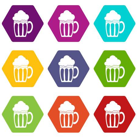 Beer icon set in multi-color hexahedron illustration.