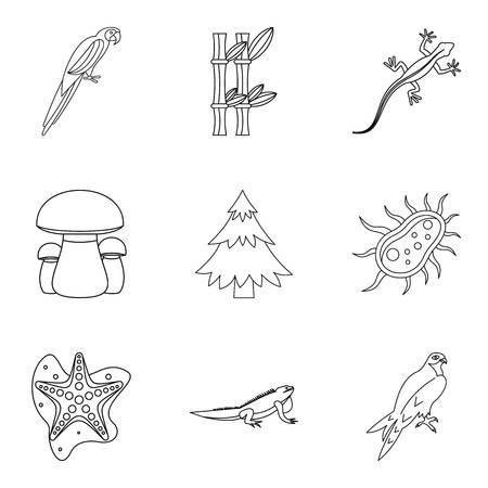 Enliven icons set. Outline set of 9 enliven vector icons for web isolated on white background.