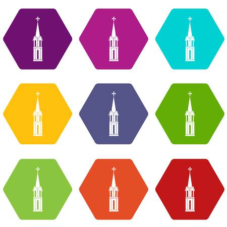 Church icon set color hexahedron.