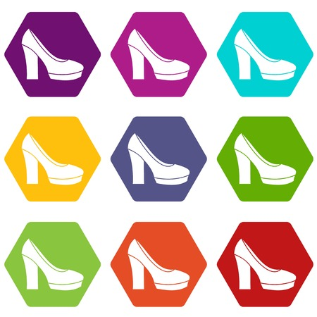 High heel shoes icon set many color hexahedron isolated on white vector illustration. Illustration