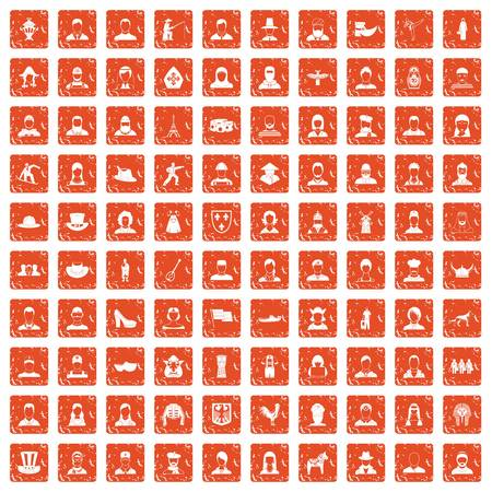 100 folk icons set grunge orange. Illustration