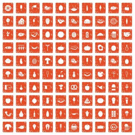 100 food icons set grunge orange illustration. Çizim