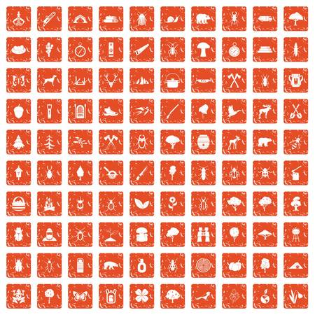 100 forest icons set grunge orange illustration. Ilustração