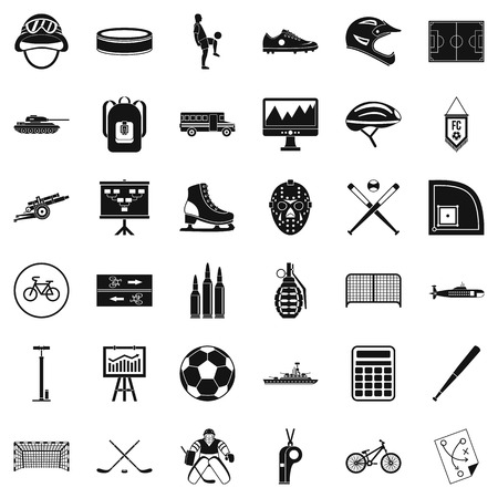 Sport health icons set. Simple set of 36 sport health vector icons for web isolated on white background.