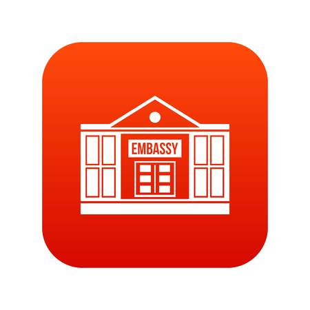 Embassy icon digital red for any design isolated on white vector illustration.