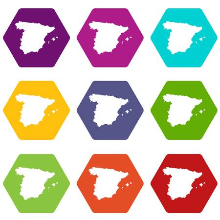 Map of Spain icon set many color hexahedron isolated on white vector illustration.